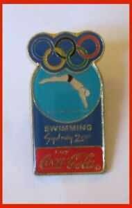 Sydney 2000 Olimpic Game Swimming Coca Cola Pin Badge 1.4