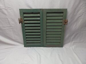 Pair Antique Wood Louvered Shutters House Window Shabby Vtg Chic 24x12 52 18p