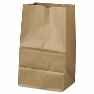 Brown Kraft Squat Natural Grocery 20 Paper Bags Square Bottom 500 Ct