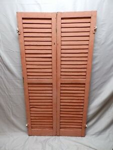Pair Antique House Window Wood Louvered Shutters Shabby Old Chic 61x16 54 18p