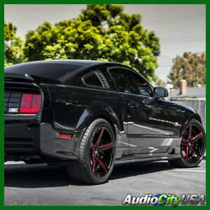 4pcs 20 Staggered Mq 3226 Rims Black With Red Milled Accents Rims Fit Mustang