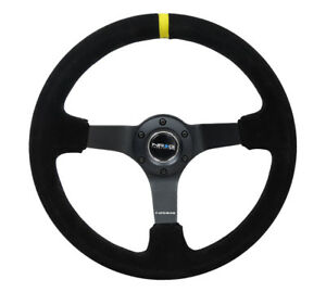 Nrg Steering Wheel 350mm Deep Suede Universal Rst 036mb s y Yellow Center Mark