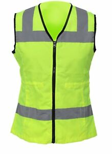 Womens High Visibility Safety Vest Bright Nylon Surveyor Vests With Reflective