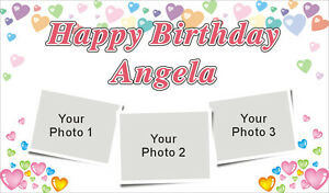 3ftx5ft Custom Personalized Happy Birthday Party Banner Sign W 3 Your Photos
