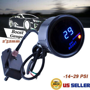 Digital Turbo Boost Gauge Kit W Sensor For Auto Car 52mm 2 Lcd 14 29 Psi Aem