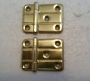 Nice Pair Old Vintage Antique Solid Brass Hinges Art Deco 88hd