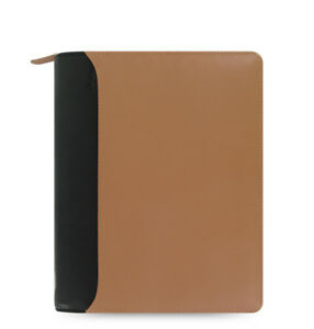 Filofax A5 Nappa Zip Diary Note Taupe black Leather Planner Organiser 025155