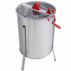 32 Stainless Steel Large 4 8 Frame Hive Honey Extractor Drum Gate Manual Crank