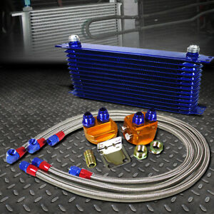 Blue 13 Row 10an Engine Transmission Oil Cooler W Silver Filter Relocation Kit