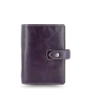 Filofax Pocket Size Malden Diary Planner Purple Leather Note Organiser 025849
