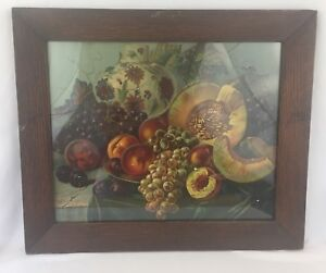 Large Mission Oak Wooden Picture Frame 24x20 W 1904 Mcloughlin Bros Fruit Print