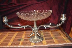 Silver Epergne W Three Arm Candlestick Holder Italy