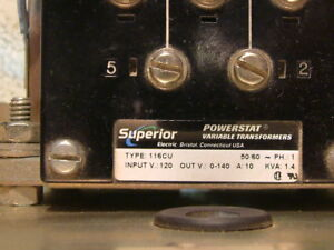 Superior Powerstat Variable Transformer Type 116cu Variac Single Phase 10a 0 140