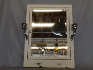 Vtg Recessed Metal Medicine Cabinet Beveled Mirror Chrome Sconces Hotel 119 18p
