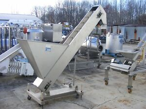 Used Inclined Cleated Belt Conveyor Discharge Height Is 5 6 Belt 8 W X 7 L
