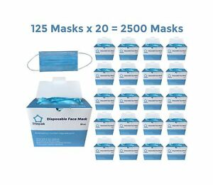 pack Of 2500 Extra Soft Disposable Face Mask 3 Ply Earloop Medical Dental S