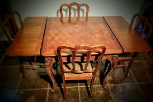 Louis Xv French Oak Parquetry Draw Leaf Table And Four Chairs