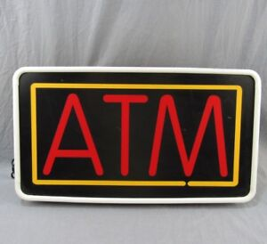 Vintage Atm Lighted Sign 13x24 Plastic Electric Wall Or Chain Hanging Bank Cash