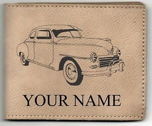 48 Plymouth Coupe Leather Billfold With Drawing And Your Name On It Nice Quality