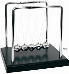 Newtons Cradle Balance Balls Black Wooden Base Office Desk Toy Kinetic 7 25i