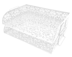 New Easypag Carved Hollow Flower Pattern 2 Tier Desk Letter Tray White