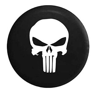 New Punisher Skull Spare Tire Cover Oem Vinyl Black 32 33 In Free Shipping