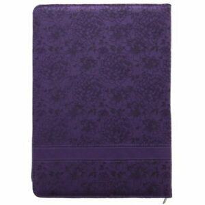 New Purple Floral Legal Size Zippered Portfolio Philippians 4 13 Free Shipping