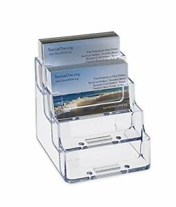New Source One 4 Pocket Clear Acrylic Business Card Holder Bc 4p Free Shipping