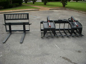 Bobcat Kubota Skid Steer 72 Hd Root Rake Grapple And 42 Pallet Forks ship 199