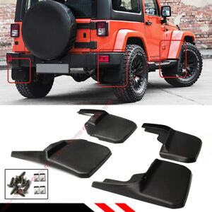 For 2007 18 Jeep Wrangler Jk Mud Flaps Guards Splash Flares 4 Piece Front Rear