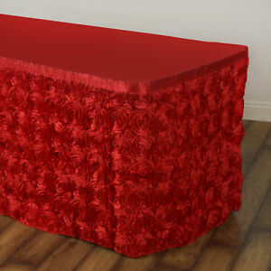 14 Red Satin Roses Table Skirt Tradeshow Wedding Party Catering Supplies Dinner