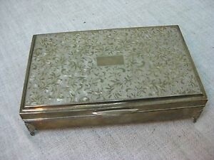 Beautiful Vtg Japanese Asahi Sterling Silver 950 Footed Cigarette Trinket Box