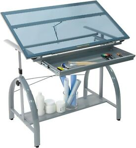 Drafting Table With Drawer Home Office Blue Glass Top Adjustable Art craft hobby
