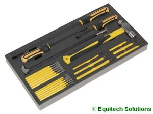 Sealey Siegen S01131 Tool Chest Tray Prybar Hammer Chisel Punch Set 23 Pc