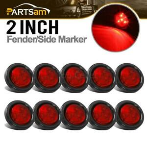 10x Red 2 Round 4 Led Trailer Semi Side Marker Clearance Light Kits Grommet
