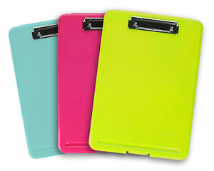 3pk Colorful Storage Document Holder Plastic Clipboard Desk Office Supplies Lot