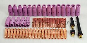 Tig Gas Lens Collet Body Alumina Nozzle Kits Wp 17 18 26 Tig Welding Torch 63pcs