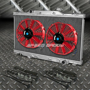 2 row Aluminum Radiator 2x 12 fan Red For 02 06 Acura Rsx Type s integra Dc5