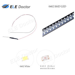 10pcs 50pcs 100pcs 0402 0603 0805 1206 Pre wired Smd Led White Red Blue Dc9 12v