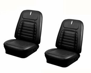1968 Camaro Coupe Front rear Deluxe Black Seat Upholstery W headrests N f Rear
