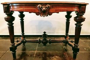 Victorian American Walnut Large Parlor Table C 1869 1897