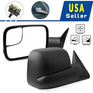 Pair Manual Side Towing Mirrors For 94 01 Dodge Ram 1500 94 02 Ram 2500 3500