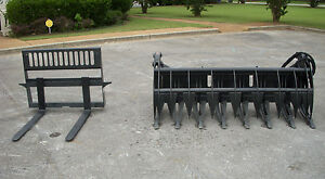 Kubota Skid Steer Attachment 84 Root Rake Grapple W 42 Pallet Forks Free Ship