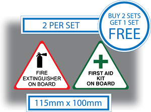 First Aid Kit Fire Extinguisher On Board Stickers Vinyl Health Safety Signs