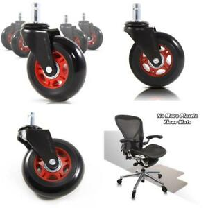 Revosmooth Premium Rollerblade Style Rubber Office Racing Chair Caster Set Of 5