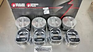 Speed Pro Small Block Chevy Flat Top Coated Pistons 030 Bore H345dcp30 350 Set