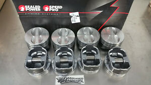 Speed Pro Small Block Chevy Flat Top Coated Pistons 040 Bore H345dcp40 350 Set