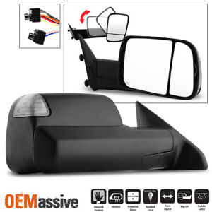 Fit 2009 2012 Dodge Ram Pickup Power Heated Led Signal Passenger Towing Mirror