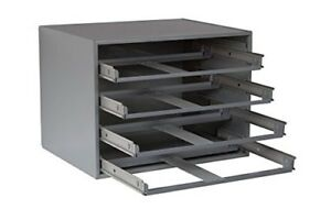 New Durham 303 95 Glide Slide Rack Holds 4 Large Compartment Boxes Storage Steel