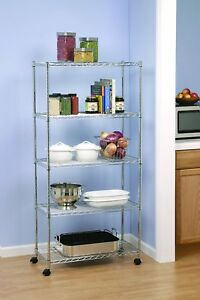 3 5 Tier Shelf Adjustable Wire Microwave Oven Metal Shelving Rack W rolling Us